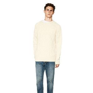 NWOT Zara Size L Cream Knit Wool Sweater